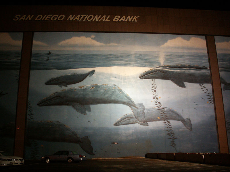 wyland, mural, whales, san diego national bank