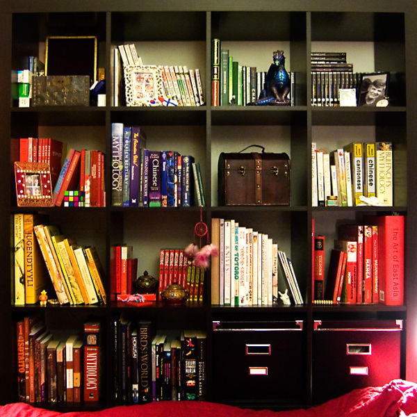 Bookshelf arranged by colour