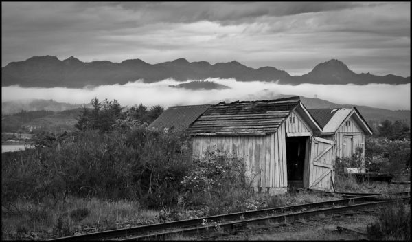 Sheds on the Road to Nehalem--B&W Version