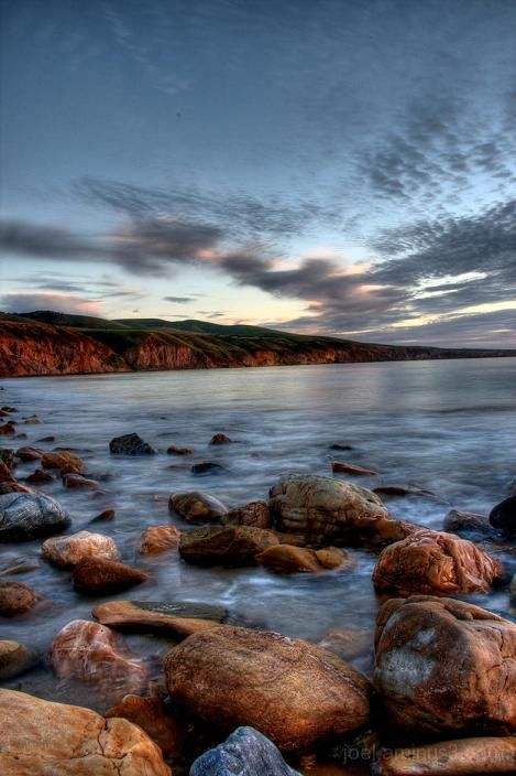 beach,sunset,hills,landscape,rocks