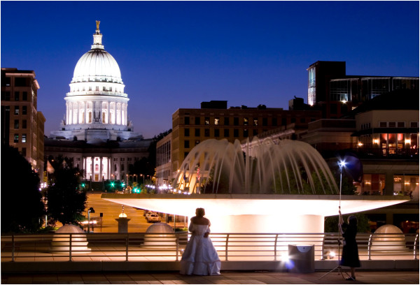 A beautiful evening view of madison, wi capitol
