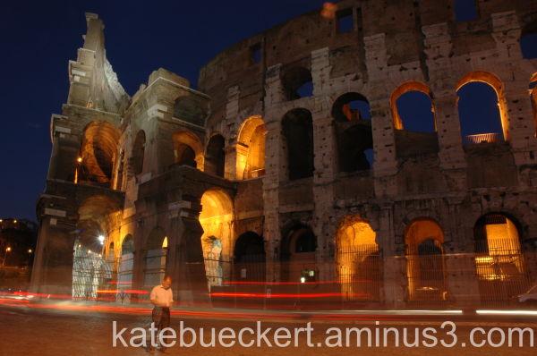 Outside Colosseum evening
