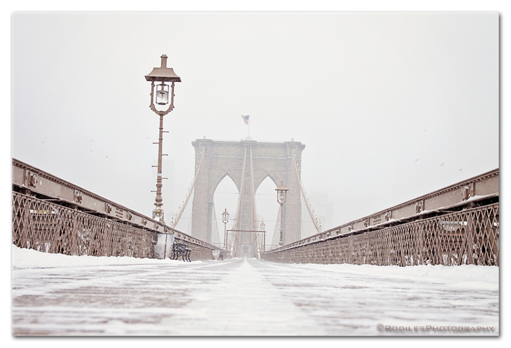 The Brooklyn Bridge after a snow storm