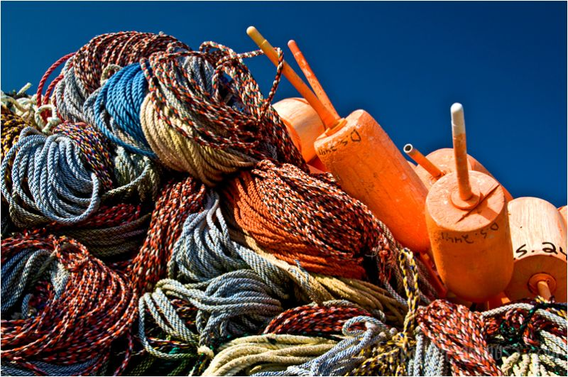 Ropes and Bouys on Dock in Port Clyde Maine