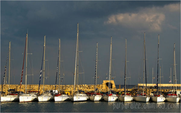 Sailboats at Port in Rhodes Old Town