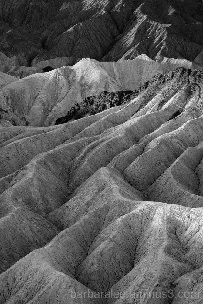 First Light on the Badlands in Black and White