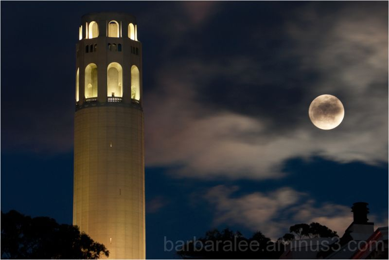 Full Moon and Coit Tower, San Francisco