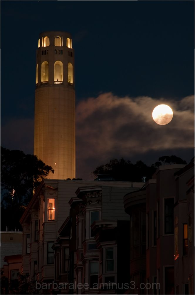 Coit Tower and Full Moon