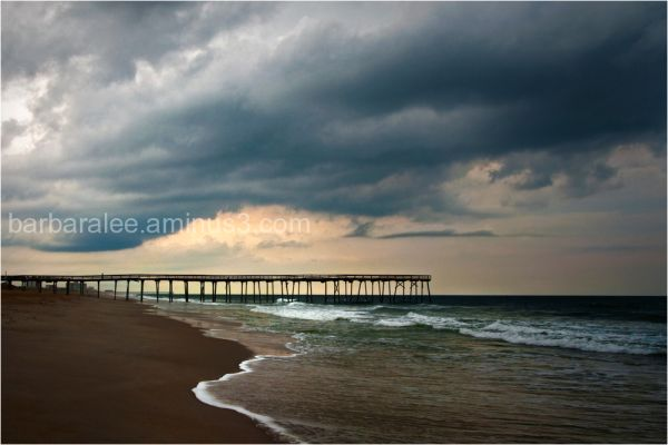 North Carolina Pier with Rain Clouds