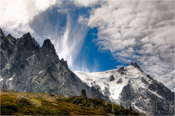 View to the Aguille du Midi in Chamonix France
