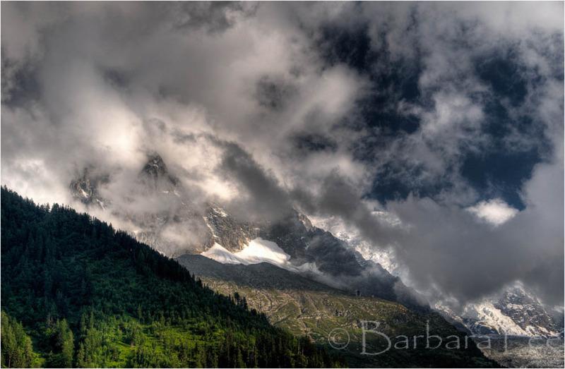 Mt Blanc Hidden in the Clouds above Chamonix