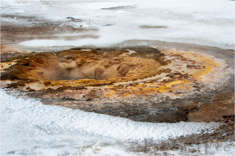 Yellowstone winter hot spring closeup
