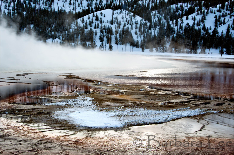 Grand Prismatic Spring Yellowstone Winter