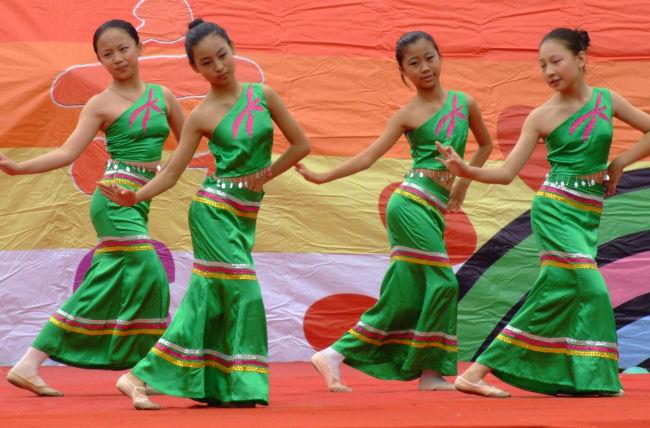 Schoolgirls dancing