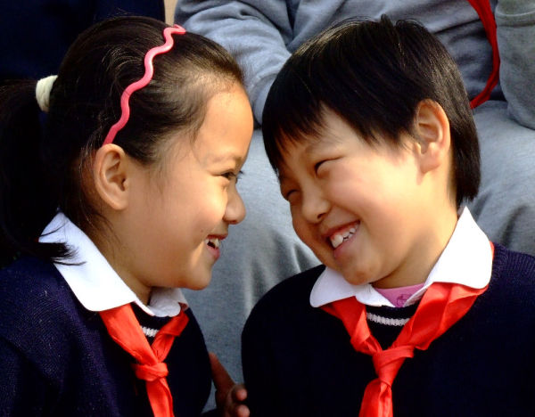 Two young friends at school