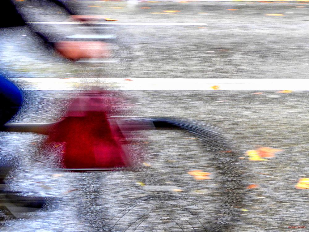 * Una bicicleta passa