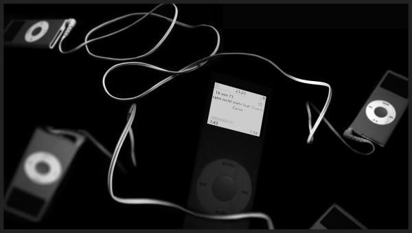black and white iPod collage
