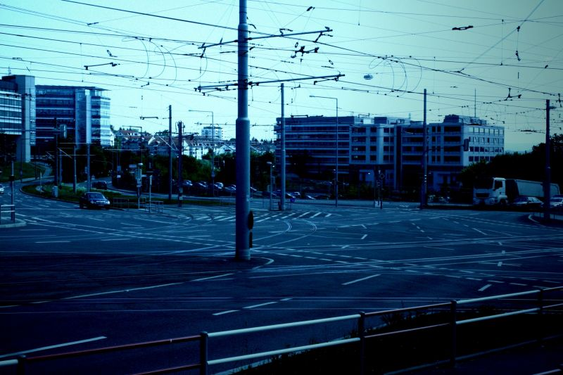inconspicuous chaos of stuttgarts streets and tram