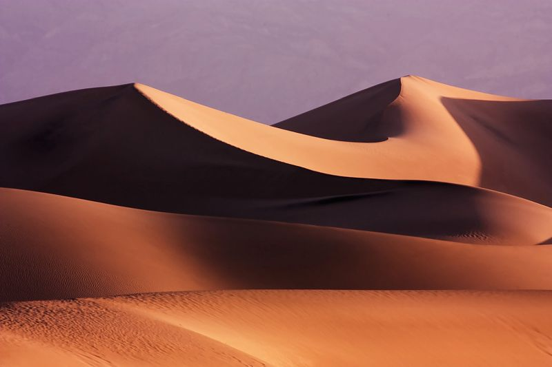The death valley dunes at sunrise.
