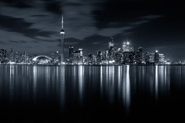Toronto Skyline at night in Black and White