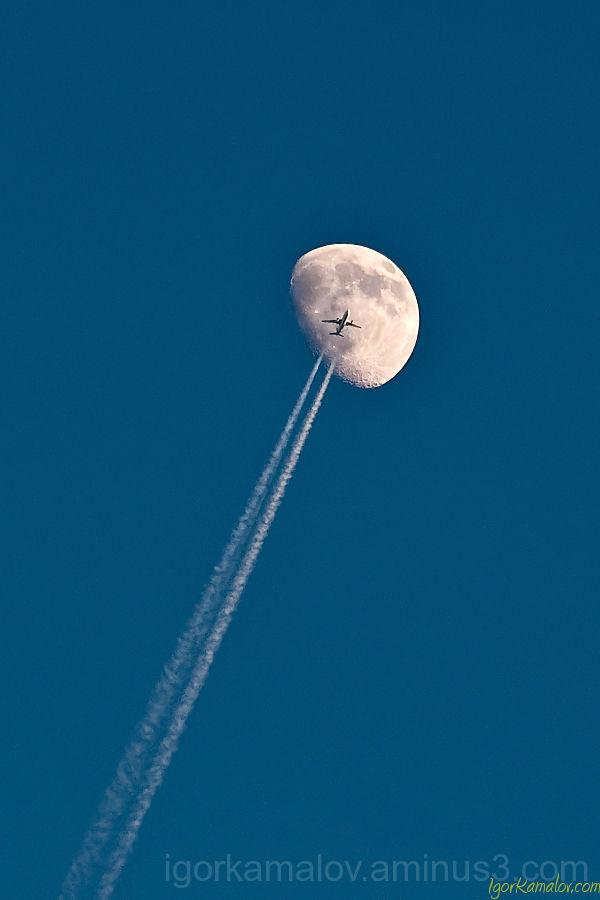 Airplane, moon
