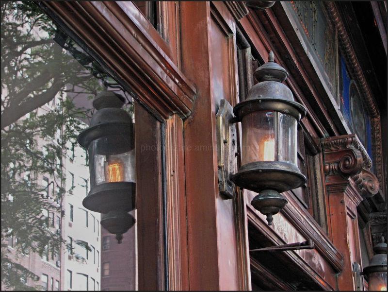 copper/brass lamp outside manhattan pub