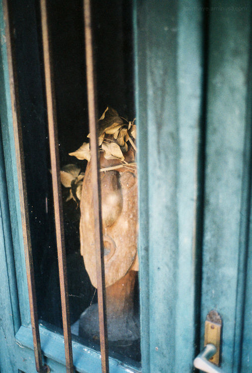 sculpture in window
