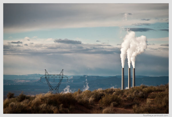 coal plant smokestack in desert