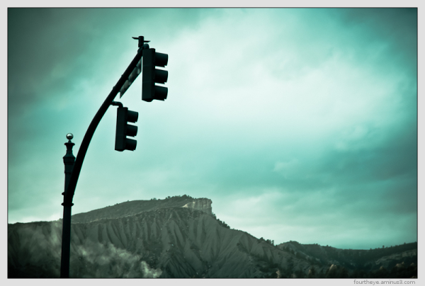 traffic light and mountains