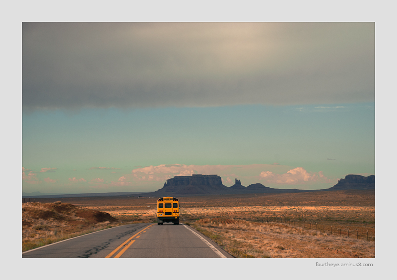 school bus in Monument Valley