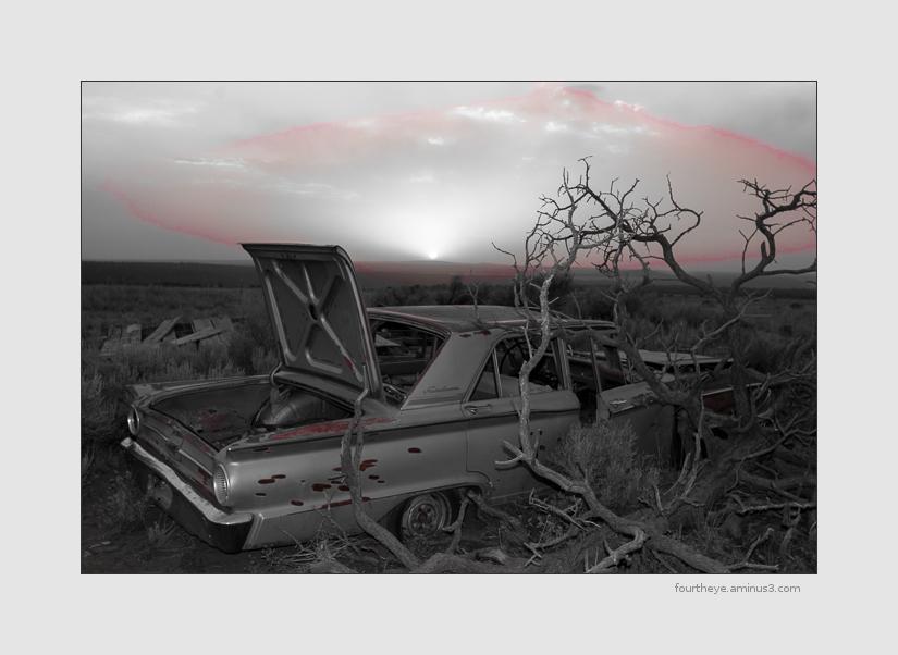 rusty car at sunset