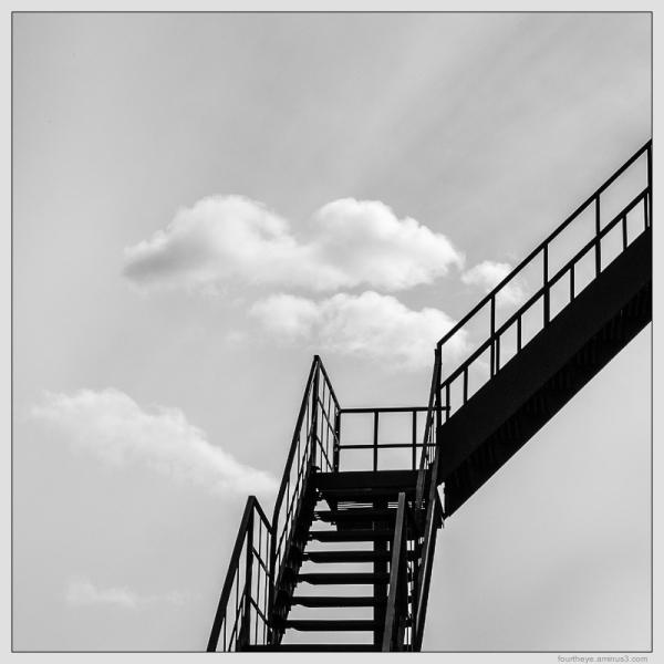 fire escape with cloud