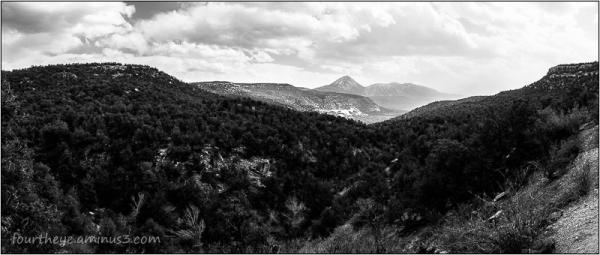 down canyon view to mountain