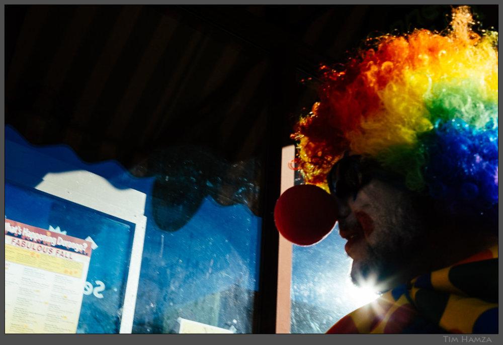 clown on street