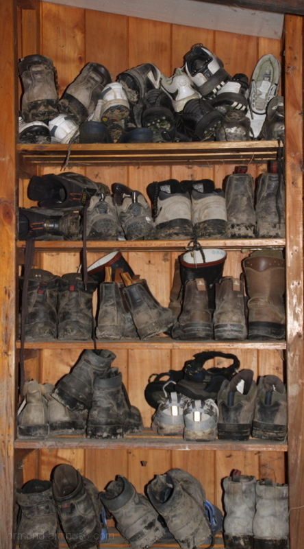 Shelf full of boots