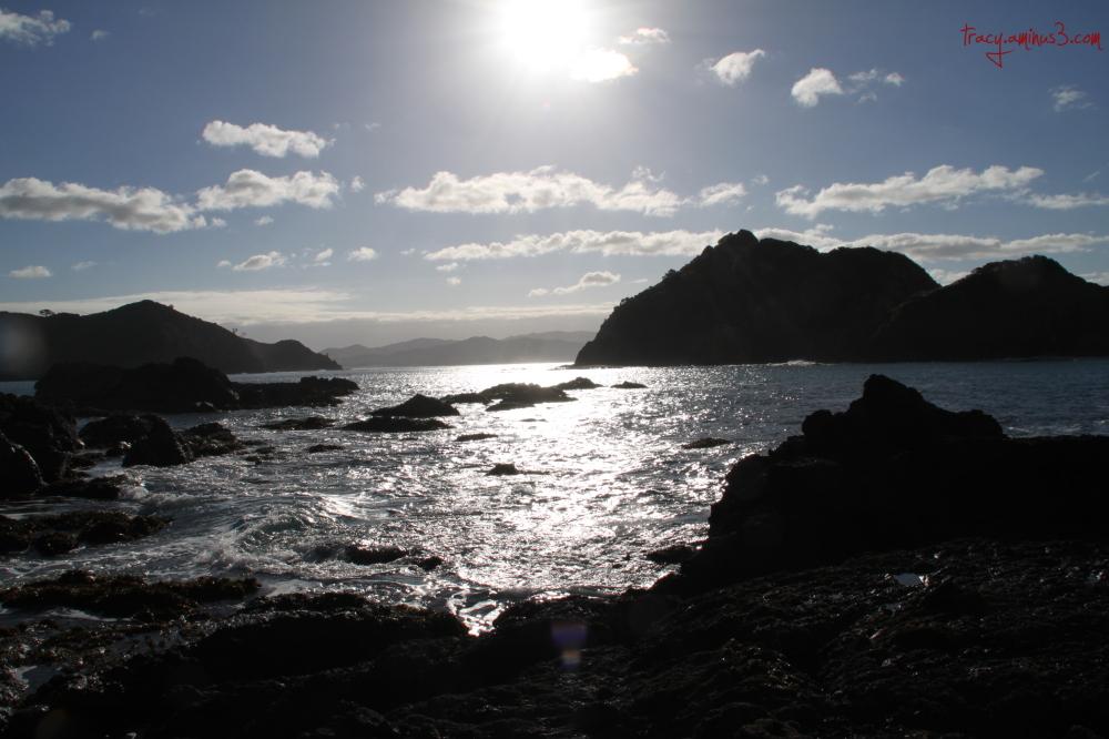 Setting sun on the ocean