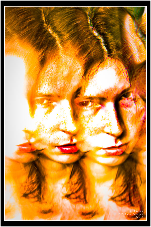 blown out orange portrait of a girl with red lips