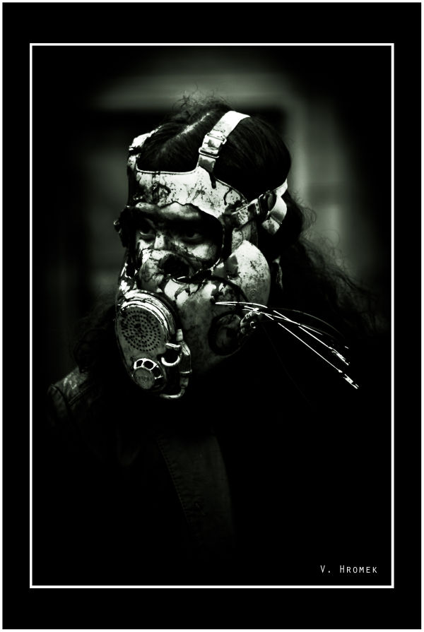 zombie with a gas mask