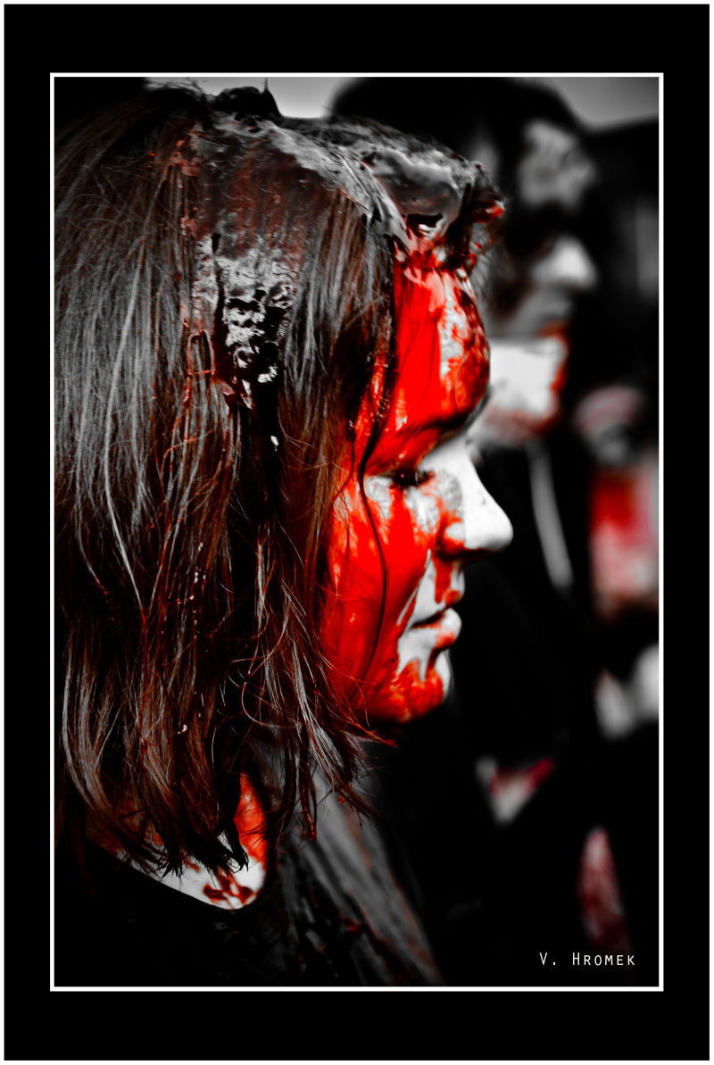blood splattered zombie