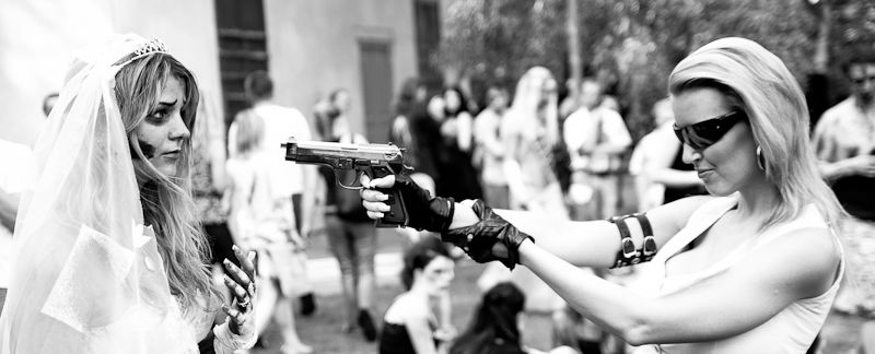 Corpse Bride being shot by zombie huntress