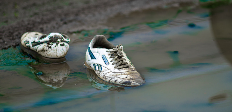 shoes in the mud