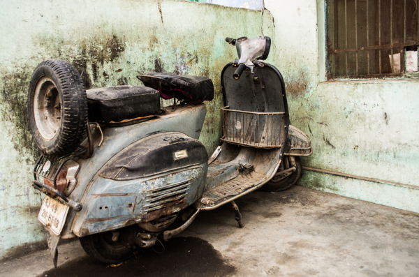 abandoned scooter