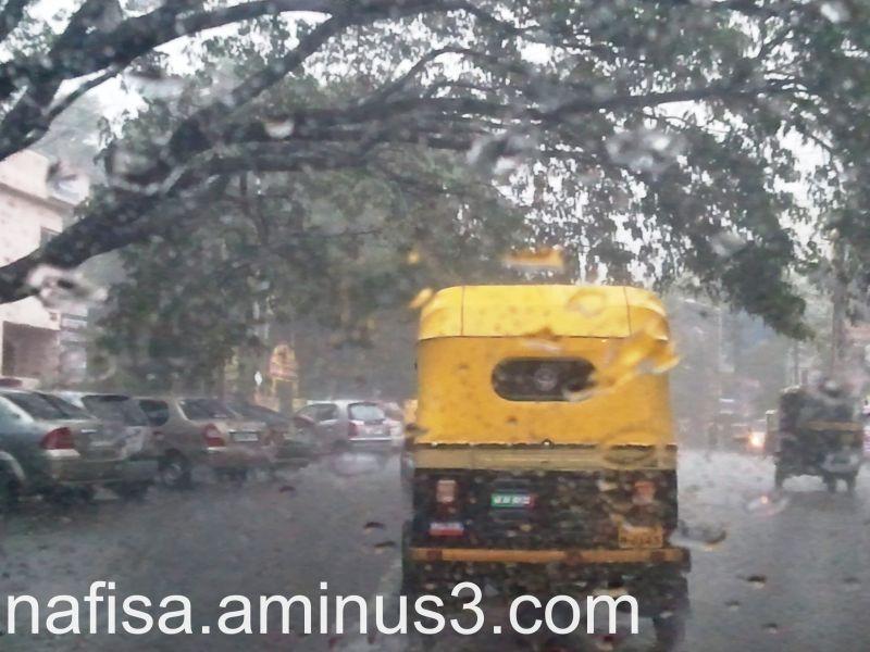 speeding through the rain