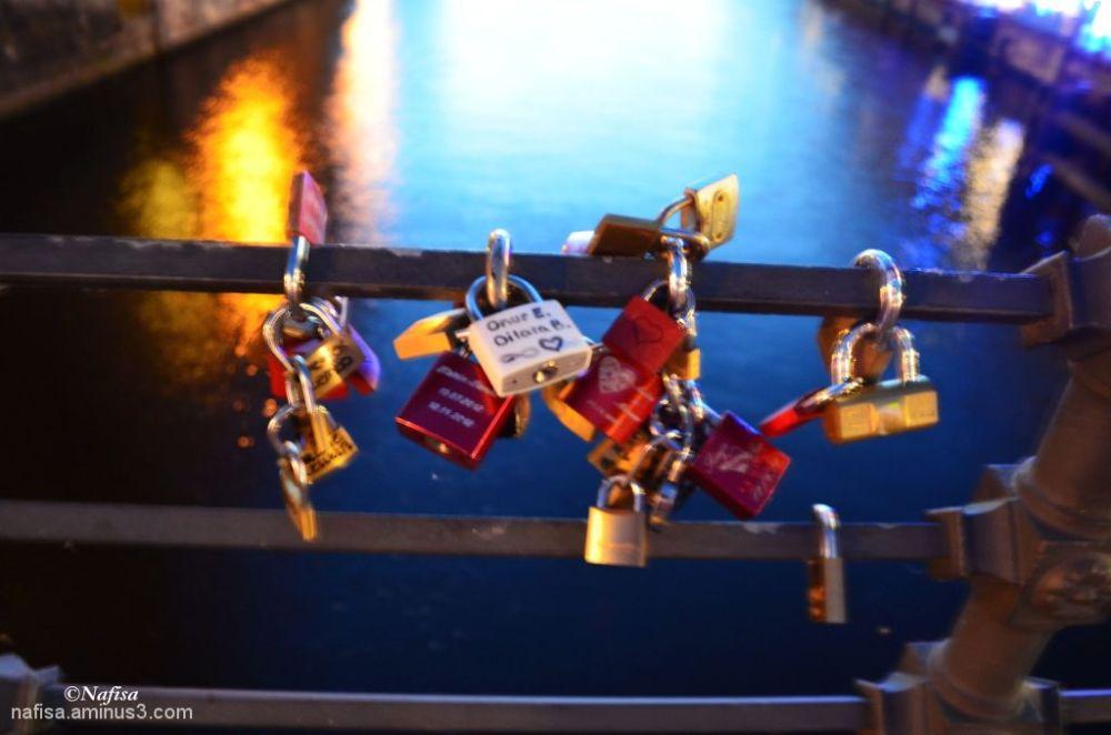 love padlocks on Weidendammer Bridge ,river Spree,