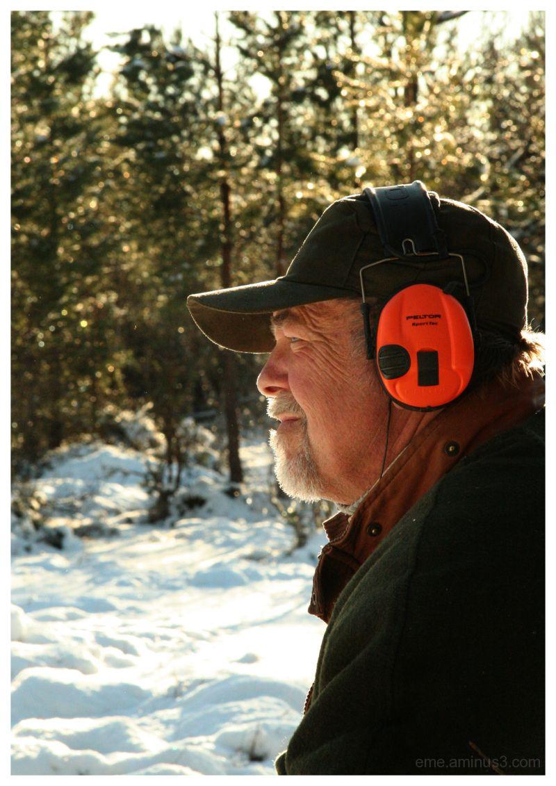 man, winter, sun, hunter, cold, silence