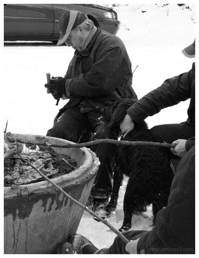 hunter, black&white, nature, snow, cold, fire