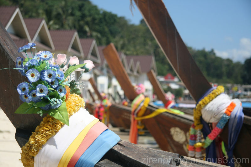 A flower attached to a boat off Phuket.