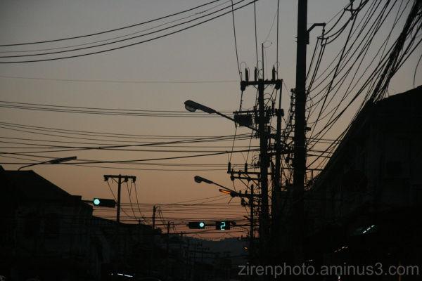 Sunset a phuket town, Thailand.