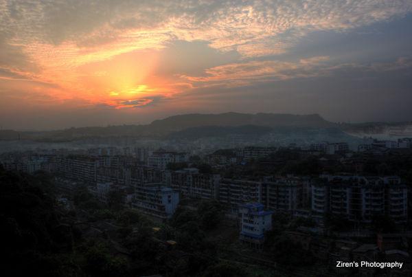 An old town of Zigong at dusk.