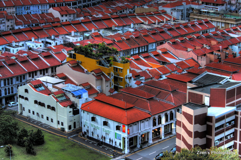 HDR image of old buildings of Singapore.